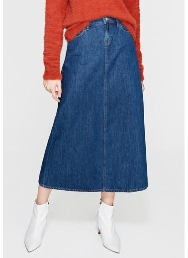 Mavi Uzun Jean Etek İndigo